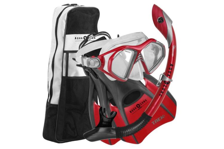 Aqua Lung Admiral Mask Fin Dry Snorkel Set with Snorkeling Gear Bag